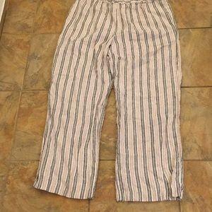 Chico's linen stripe ankle pants 2 medium / large